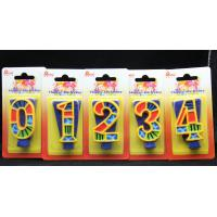 Handmade Painted Number Candle with Blue Set Square and Yellow Edge with colorful Paintings
