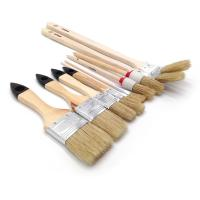 Quality Round Natural real bristle paint brushes Wooden Handle Real Hair Paint Brushes for sale
