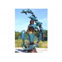 Quality Life Size Western Bronze Statue Dolphin And Mermaid Sculpture For Casting Finish for sale