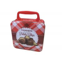 Quality Attractive Square Handle Lunch Tin Box , Biscuit Packing Metal Tin Containers for sale