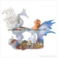 China Fairy With Dragon Figurine Polyresin Fairy Crafts on sale