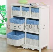 Solid wood Storage Cabinet with Basket