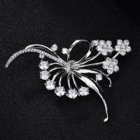 Quality Brass brooch clear zircon flowers brooch for party dress for sale