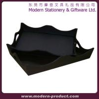 Square hot sell faux leather service tray
