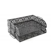 China Carved Hollow Flower Pattern Stacking 2 Tier Office Desk Letter Tray on sale