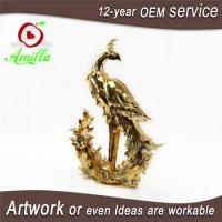 Quality Golden Resin Figurine Peacock Statues for Sale and Gifts for sale