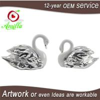 Quality White with Silver Swan Statue for Home Room Accessories and Wedding Gifts for sale