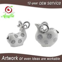 Quality White with Silver and Gloden Polyresin Sheep Figurines for Home Decorations for sale