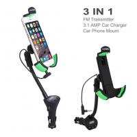 Quality Alloyseed Car Mount Holder with 3.1 Amp USB Car Charger and FM Transmitter for sale