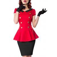 China Womens Clothing Bacall Dress Red and Black with Peter Pan Collar on sale