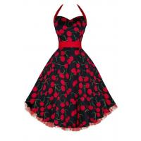 China Big Cherry Black Red Halter Pinup Swing Dress on sale
