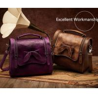 Quality Leather&Canvas product Retro Cowhide Genuine Leather Handbag for sale