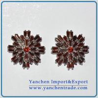 China Hot sales brass earring studs rhodium plated with Red CZ on sale