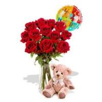 Quality 12 Rose Package with Medium Teddy Bear and balloon for sale