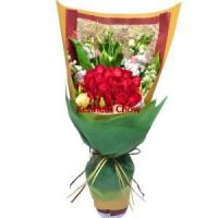 Quality Two Dozen Deep Red Rose Bouquet for sale