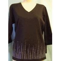 Quality Christine Alexander black v-neck aurora Swarovski crystal & silver lines size xlarge only for sale