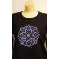 Quality Christine Alexander Sweatshirt Stained Glass Medallion Size 3x on black for sale