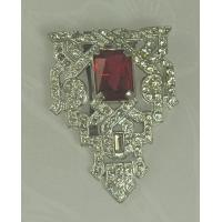 Quality Unsi Impressive ART DECO Dress Clip with Faceted Red Glass Stone for sale