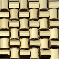China Golden 3D Arched Metallic Mosaic Tiles Trim Stainless Steel Laminate Backsplash on sale