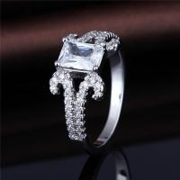 China Sterling Silver Emerald Cut Cubic Zirconia CZ Solitaire Promise Engagement Ring on sale