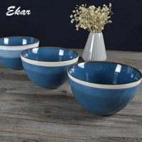 Quality Blue reactive glaze ceramic bowl with brown rim for sale