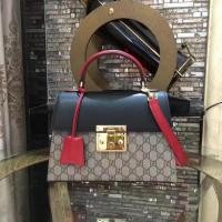 Quality Gucci Padlock Gucci Signature Top Handle Bag 453188 Black&Red for sale