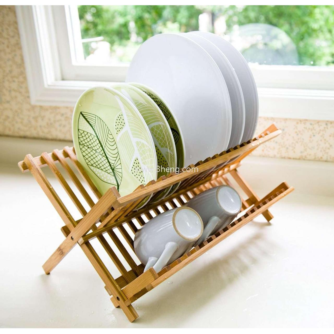 Quality Bamboo Scissor Style Folding Dish Rack /Plate Drying Rack Drainer Storage Organizer for sale