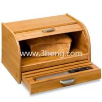Quality Eco-friendly Bamboo Rolltop Bread Box with Pull-Out Drawer for sale