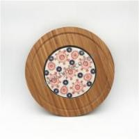 China Round cheese & bread ceramic board with bamboo tray Item No.: G110 on sale
