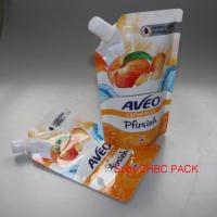 Quality liquid food packing bottom gusset pouch Plastic Fruit Juice Bag with Spout for sale