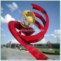 China Chinese Red Large Stainless Steel Garden Sculpture on sale