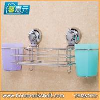 Quality Stainless Steel Storage Rack Strong Sucker Holder Bathroom Multi-function Storage Rack for sale