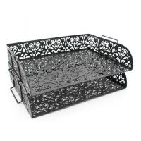 China EasyPAG Carved Hollow Flower Pattern 2 Tier Desk Letter Tray on sale