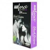 Quality Ribbed Condoms Manforce Black Grapes Flavoured Condoms (Pack of 10) for sale