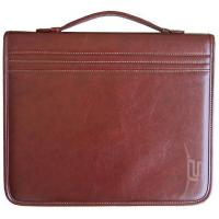 China Hot sell brown PU leather notpad and zipper portfolio With Handle and card slot for men on sale