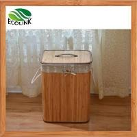 Quality Foldable Bamboo Laundry Basket Hamper with Lid and Liner for sale