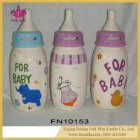 China Customized Design Ceramic Feeding Bottle Coin Bank and Piggy Bank Box on sale