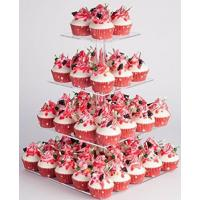 Quality YestBuy 4 Tier Maypole Square Wedding Party Tree Tower Acrylic Cupcake Display Stand (15.1 Inches)- for sale