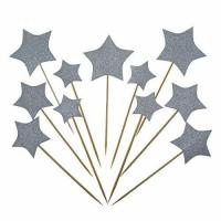 Bilipala Gold Star Cake Cupcake Decorations Toppers Picks Supplies, Appetizer Picks, 24 Counting