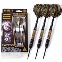 Quality CUESOUL TATTOO Series 23g Black Coated Brass Steel Tip Darts,with Unique Pattern Engraved for sale