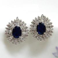 China Hematite Plating Rings Blue Center and Clear CZ Accents Earrings M-6820ER on sale