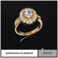 Quality Simple Design Wedding Rings, Gemstone Setting Jewelry, Romantic Gold Ring for sale