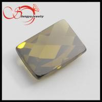 China Rectangle Checkerboard Cut Cubic Zirconia of olive on sale