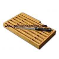 China Kitchen Exquisite Bamboo Bread Serving Tray With Cutter on sale