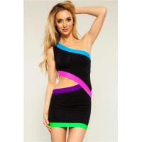 Quality Club Dresses Black Cut out Sexy Club Dress with Neon Trims for sale