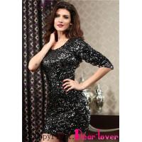Quality Club Dresses Black Sequined Single 3/4 Sleeve Dress for sale