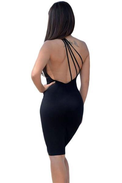 Buy Club Dresses Black One Shoulder Strappy Back Bodycon Party Dress at wholesale prices
