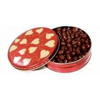 Quality 6 Inch Heart Designed Tin, filled w/Sugar-Free Gourmet Caramels Chews (about 7 oz) for sale