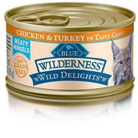 Quality Blue Buffalo Wild Delights Chicken & Turkey Entree Wet Cat Food, 3 oz Can, Pack of 24 for sale