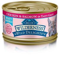 Quality Blue Buffalo Wild Delights Chicken & Salmon Entree Wet Cat Food, 3 oz Can, Pack of 24 for sale